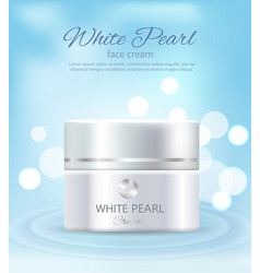 White pearl face cream container of cosmetics vector