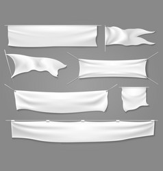 white textile banners and flags vector image