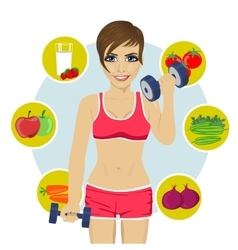 Woman with dumbbells and variety of healthy fruits vector