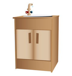 Wooden cabinet and sink vector