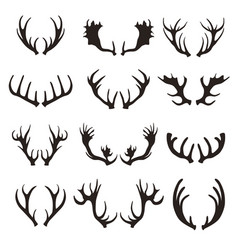 cartoon black silhouette deer horns set vector image