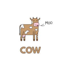 Cartoon cow flashcard for children vector