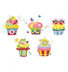set of colorful cupcakes vector image vector image