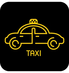 taxi icon on black vector image