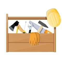 Wooden toolbox full of construction equipment vector image