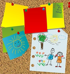 Cork board with paper notes and children pictures vector image