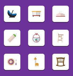 flat icon kid set of feeder toy infant cot and vector image