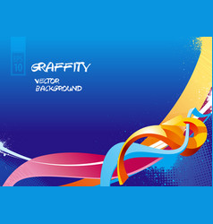 graffiti background on blue vector image
