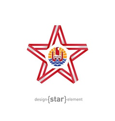 star with flag of French Polynesia colors and vector image