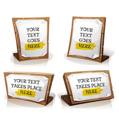 White paper signs on wood tablet vector