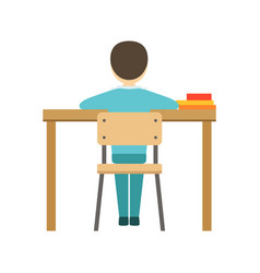 boy sitting at his desk in classroom part of vector image
