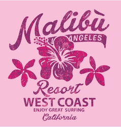 Malibu surfing with hibiscus vector image