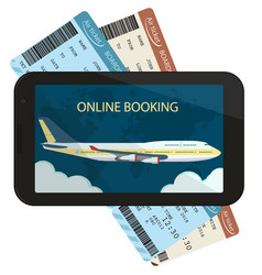 online ordering and booking of air tickets vector image vector image