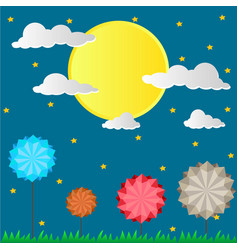 paper design with the sun and rocket in brighter vector image