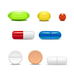 realistic detailed pills capsules and drugs set vector image