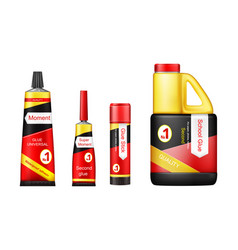 realistic glue tube stick bottle mockup set vector image