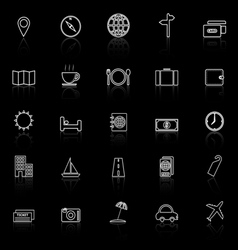 Travel line icons with reflect on black background vector image