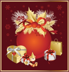 christmas ball in red colors vector image