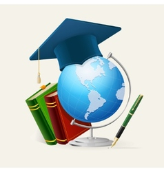 Graduation cap stack of books globe and pen vector image