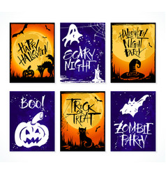 set of 6 halloween card vector image