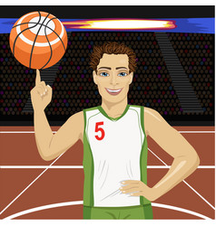 Young man spinning basketball ball with his finger vector