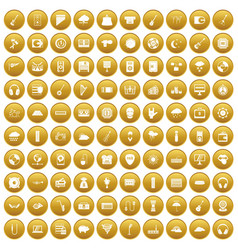 100 music festival icons set gold vector