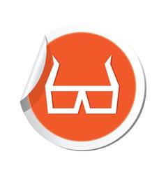 3d cinema glasses icon orange sticker vector image