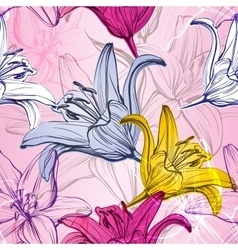 abstract floral blooming lilies background vector image