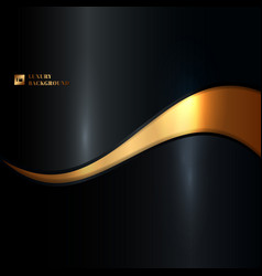 Abstract glowing gold wave on black background vector