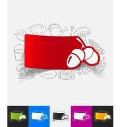 Acorns paper sticker with hand drawn elements vector