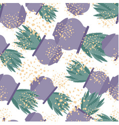 Aloe cactus in pot seamless pattern in hand drawn vector