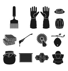 apiary and beekeeping black icons in set vector image