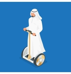Arabic man on self-balancing electric scooter 3d vector