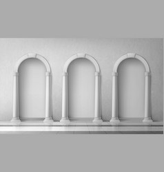 Arches with columns in wall gates with pillars vector