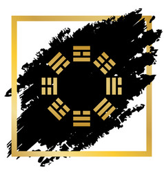 Bagua sign golden icon at black spot vector