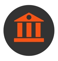 Bank flat orange and gray colors round button vector