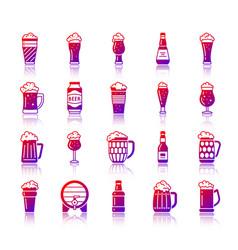 beer simple gradient icons set vector image