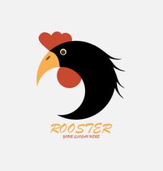 black rooster logo vector image