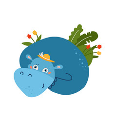 blue funny hippo animal with summer palm tropical vector image