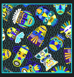 Blue psychedelic bandana with masks pattern vector