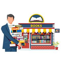 Bookstore shop exterior and man vector
