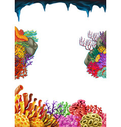 Border template with coral reef underwater vector