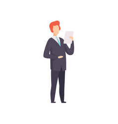 businessman standing and reading paper document vector image