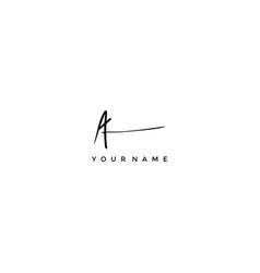calligraphy signature letter a logotype vector image