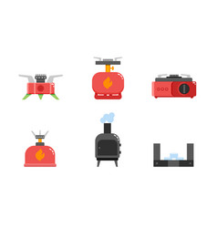 camping stove icons camping gas stove furnace vector image