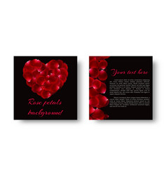 card with heart shaped petals vector image