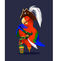 cartoon pirate parrot character design vector image