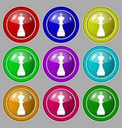 Chess king icon sign symbol on nine round vector image
