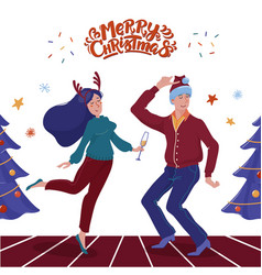 christmas card with man and woman dancing together vector image