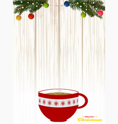 Christmas decorated coffee cup on shading wood vector